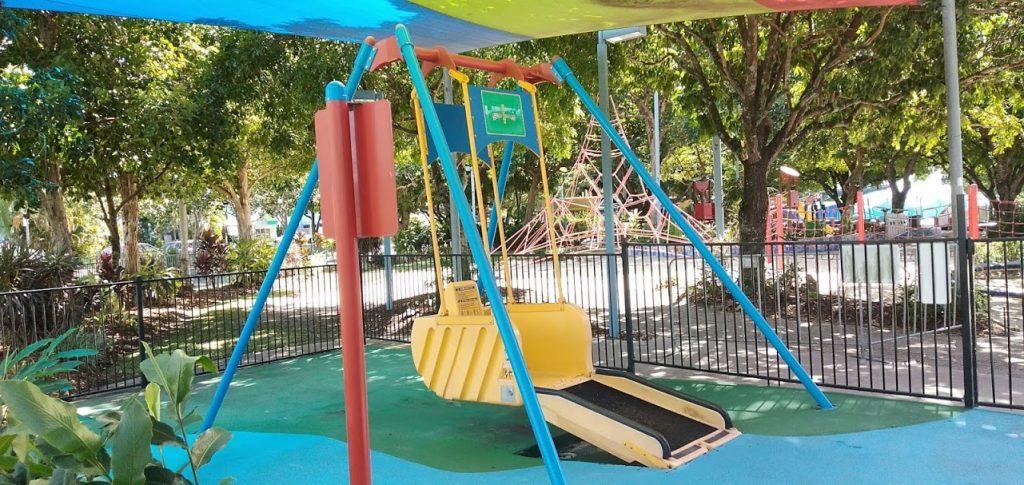 Liberty Swing for wheelchairs at Muddys Playground