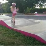 Child on scooter at Trinity Beach Skate Park